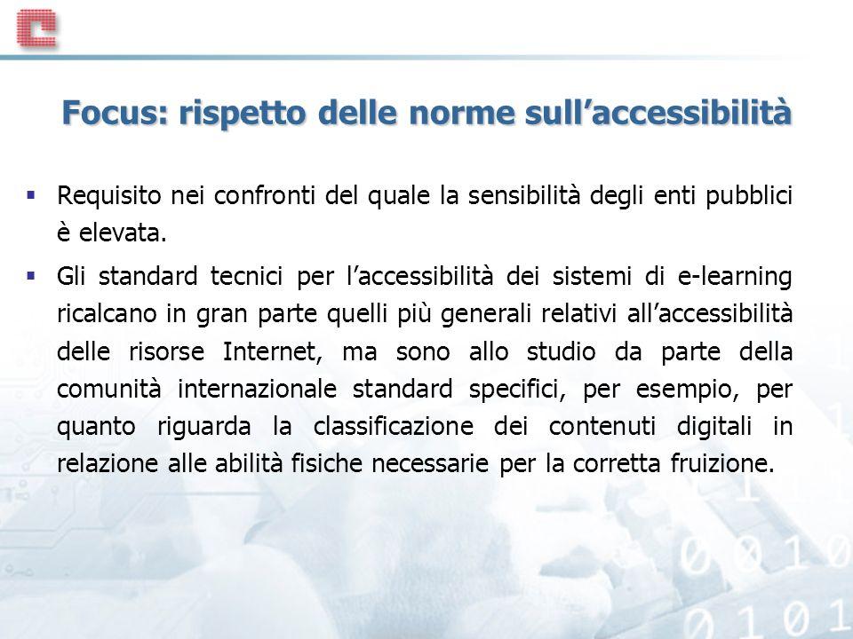 Focus: rispetto delle norme sullaccessibilità Requisito nei confronti del quale la sensibilità degli enti pubblici è elevata.