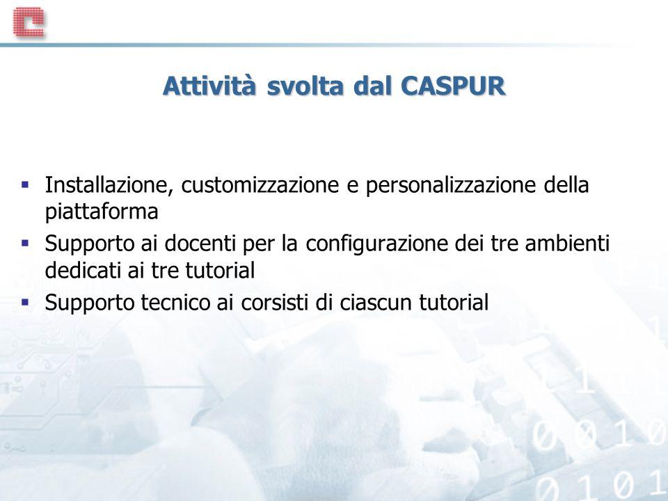Attività svolta dal CASPUR Installazione, customizzazione e personalizzazione della piattaforma Supporto ai docenti per la configurazione dei tre ambienti dedicati ai tre tutorial Supporto tecnico ai corsisti di ciascun tutorial