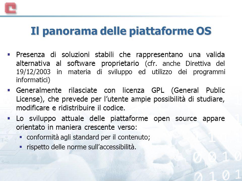 Il panorama delle piattaforme OS Presenza di soluzioni stabili che rappresentano una valida alternativa al software proprietario (cfr.