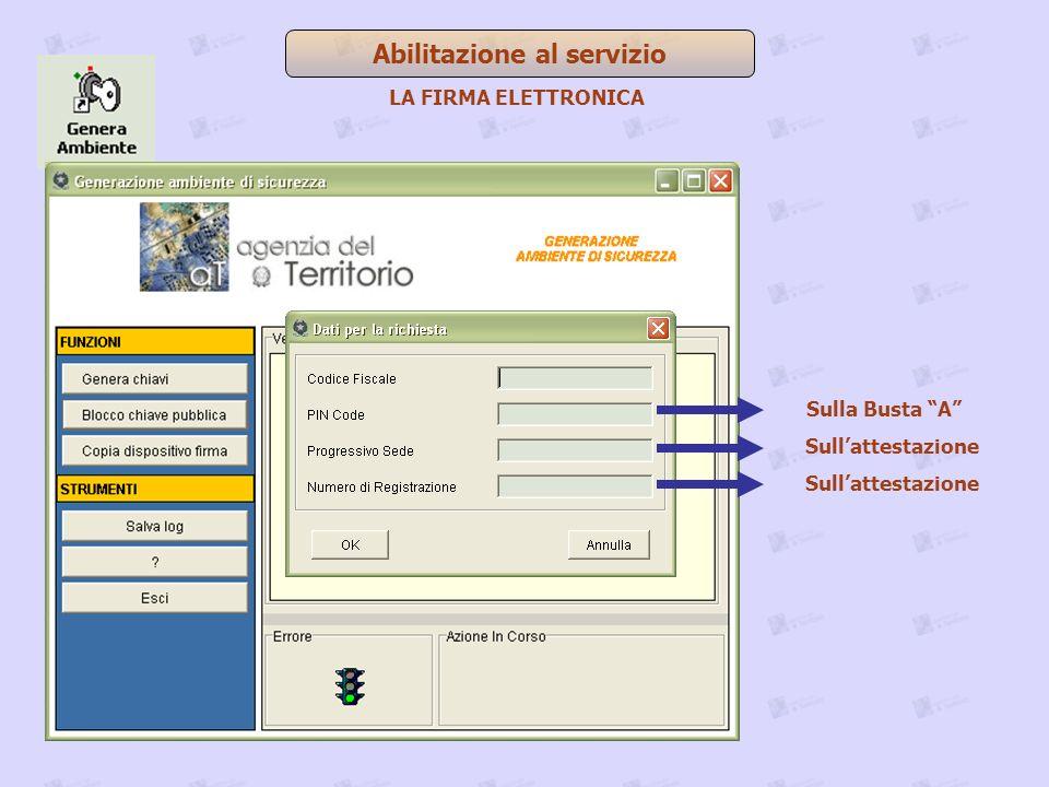 Abilitazione al servizio Sulla Busta A Sullattestazione LA FIRMA ELETTRONICA