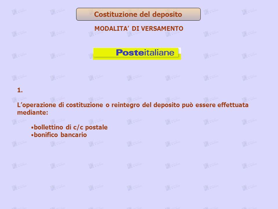1. Loperazione di costituzione o reintegro del deposito può essere effettuata mediante: bollettino di c/c postale bonifico bancario Costituzione del d