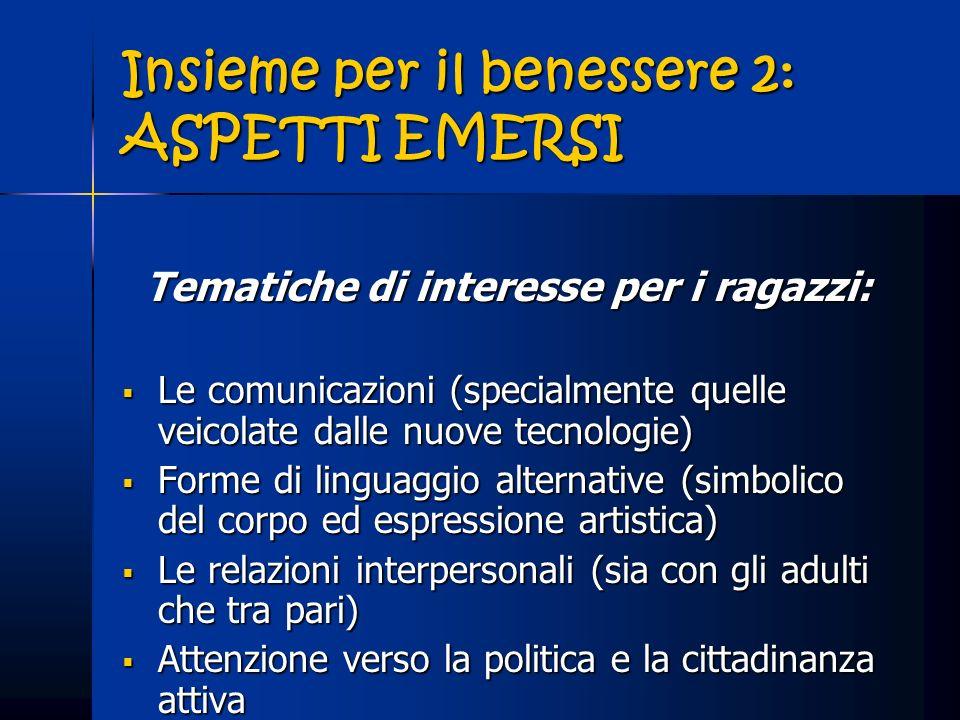 Insieme per il benessere 2: ASPETTI EMERSI Tematiche di interesse per i ragazzi: Le comunicazioni (specialmente quelle veicolate dalle nuove tecnologi