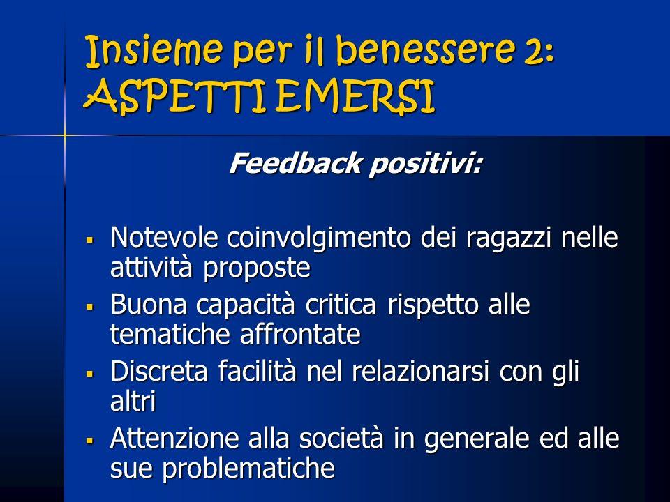 Insieme per il benessere 2: ASPETTI EMERSI Feedback positivi: Notevole coinvolgimento dei ragazzi nelle attività proposte Notevole coinvolgimento dei