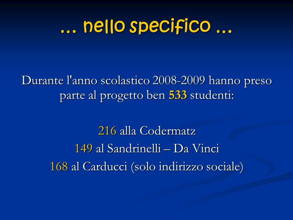 … nello specifico … Durante l'anno scolastico 2008-2009 hanno preso parte al progetto ben 533 studenti: 216 alla Codermatz 149 al Sandrinelli – Da Vin