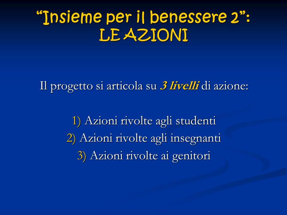 Insieme per il benessere 2: LE AZIONI Il progetto si articola su 3 livelli di azione: 1) Azioni rivolte agli studenti 2) Azioni rivolte agli insegnant