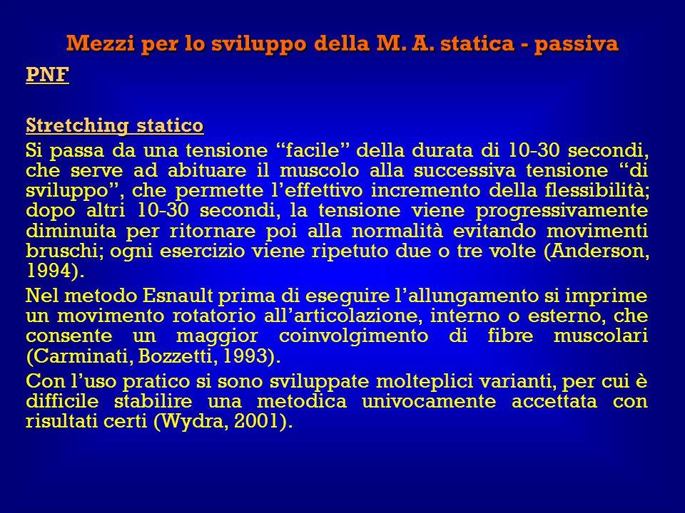 Mezzi per lo sviluppo della M. A. statica - passiva PNF Stretching statico Si passa da una tensione facile della durata di 10-30 secondi, che serve ad