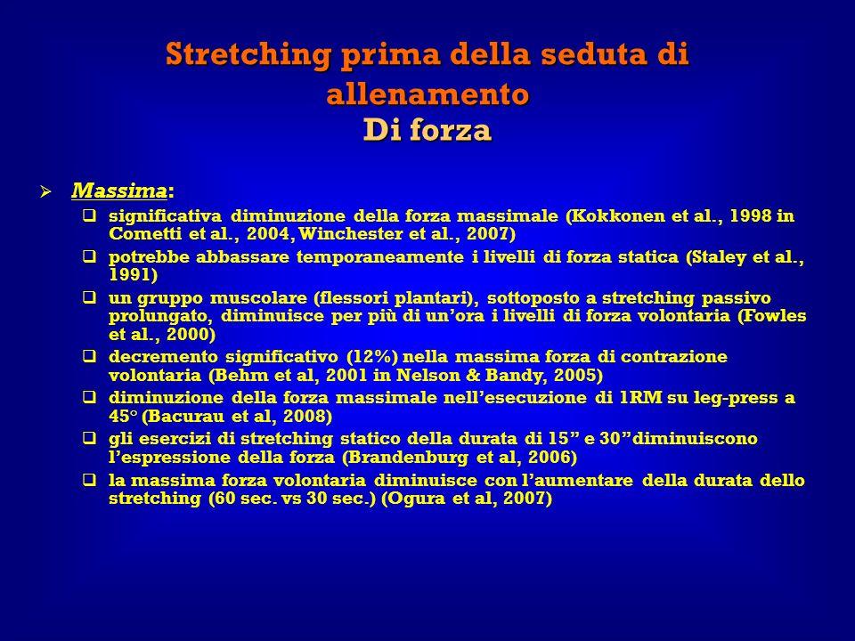 Stretching prima della seduta di allenamento Di forza Massima: significativa diminuzione della forza massimale (Kokkonen et al., 1998 in Cometti et al