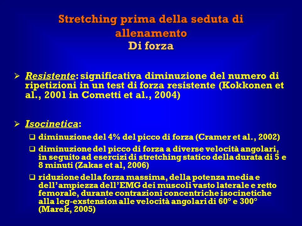 Stretching prima della seduta di allenamento Di forza Resistente: significativa diminuzione del numero di ripetizioni in un test di forza resistente (