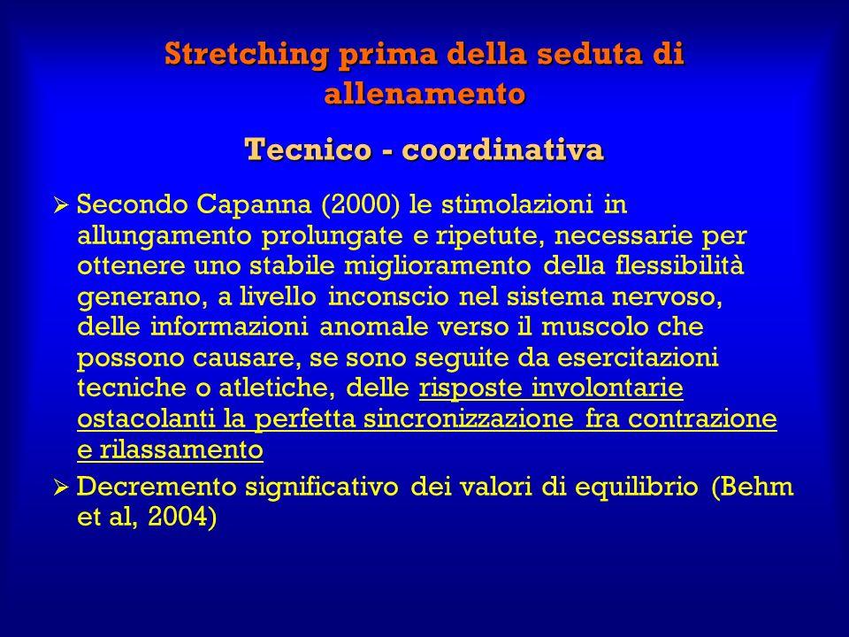 Tecnico - coordinativa Secondo Capanna (2000) le stimolazioni in allungamento prolungate e ripetute, necessarie per ottenere uno stabile miglioramento