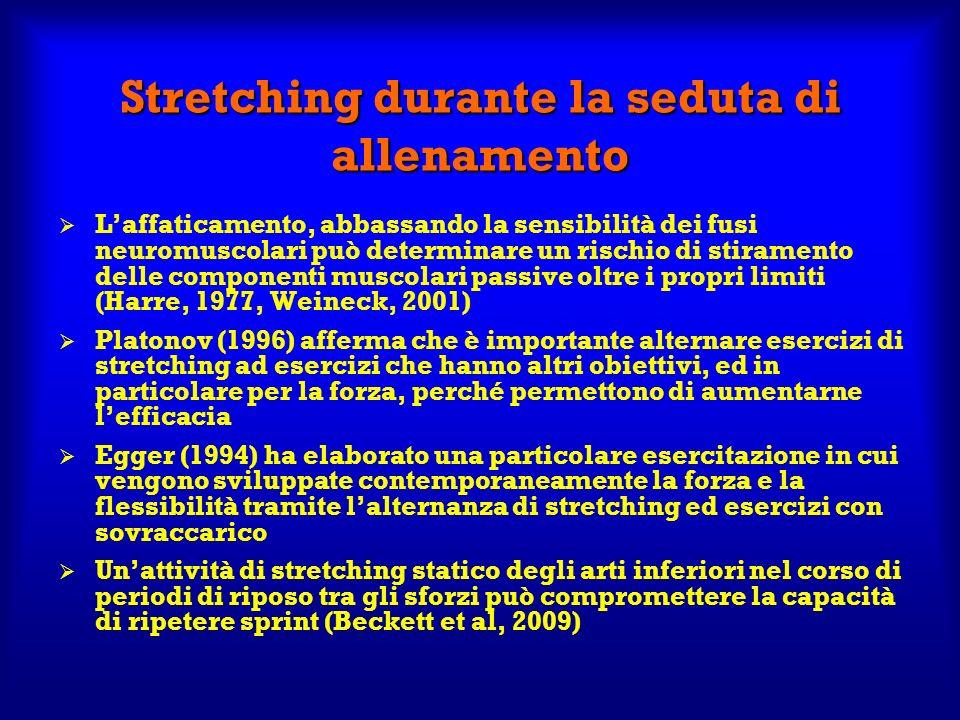Stretching durante la seduta di allenamento Laffaticamento, abbassando la sensibilità dei fusi neuromuscolari può determinare un rischio di stiramento