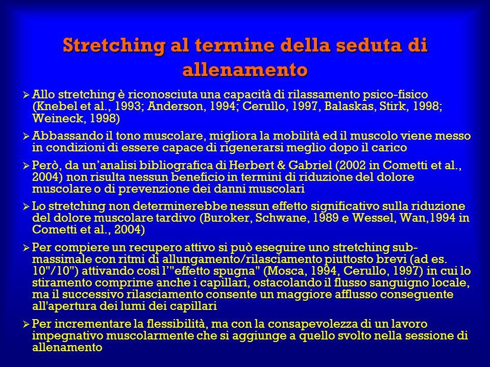 Stretching al termine della seduta di allenamento Allo stretching è riconosciuta una capacità di rilassamento psico-fisico (Knebel et al., 1993; Ander