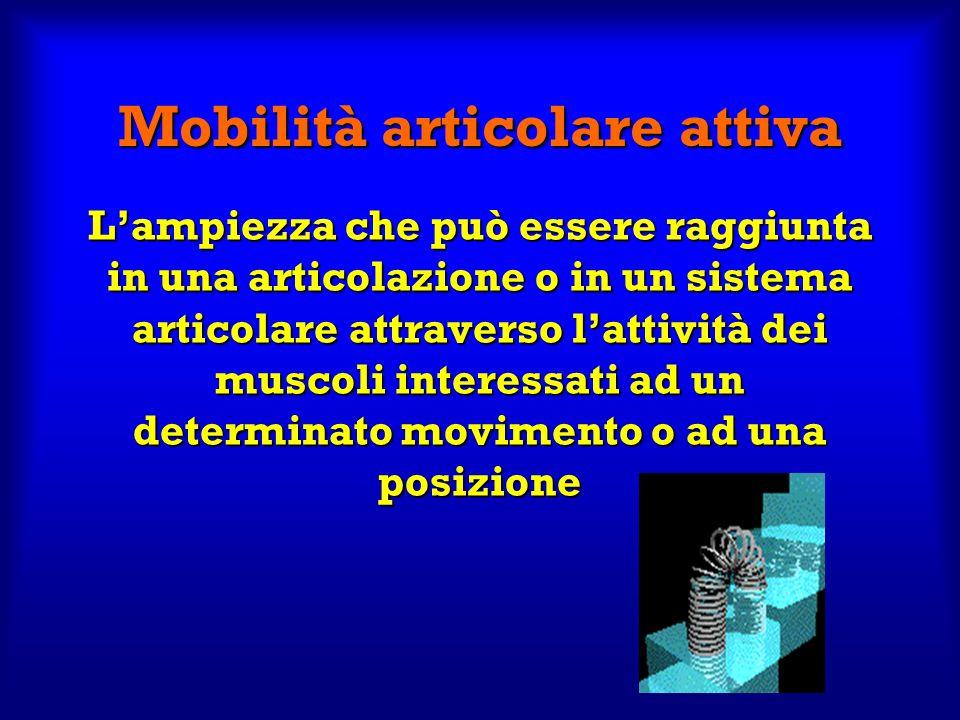 Mobilità articolare attiva Lampiezza che può essere raggiunta in una articolazione o in un sistema articolare attraverso lattività dei muscoli interes