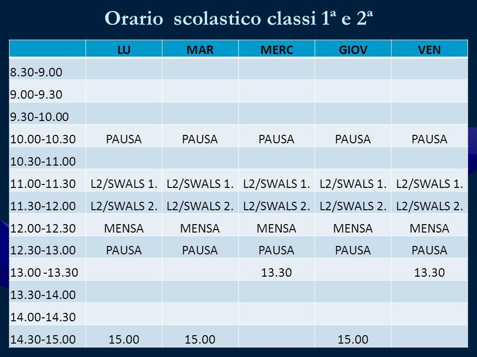 Orario scolastico classi 1ª e 2ª LUMARMERCGIOVVEN 8.30-9.00 9.00-9.30 9.30-10.00 10.00-10.30PAUSA 10.30-11.00 11.00-11.30L2/SWALS 1.