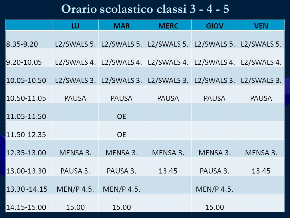 Orario scolastico classi 3 - 4 - 5 LUMARMERCGIOVVEN 8.35-9.20L2/SWALS 5.