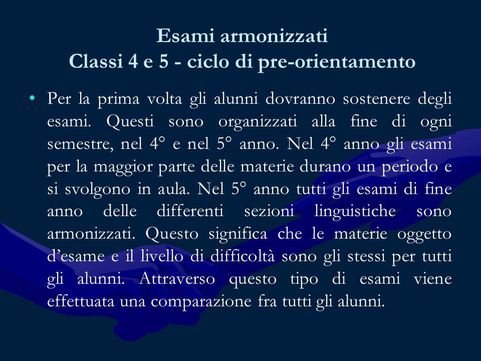 Esami armonizzati Classi 4 e 5 - ciclo di pre-orientamento Per la prima volta gli alunni dovranno sostenere degli esami.