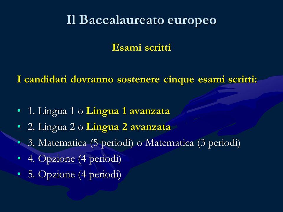Il Baccalaureato europeo Esami scritti I candidati dovranno sostenere cinque esami scritti: 1.