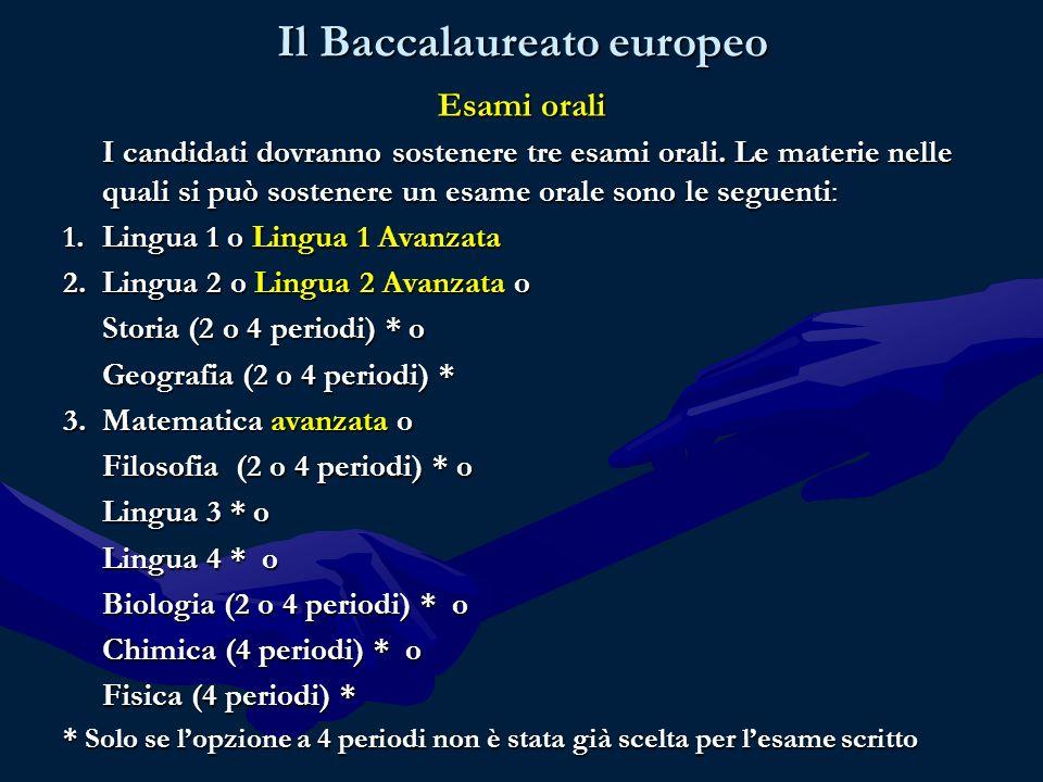 Il Baccalaureato europeo Esami orali I candidati dovranno sostenere tre esami orali.