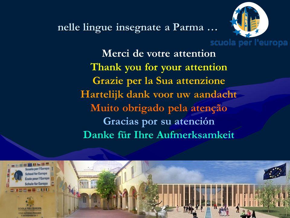 nelle lingue insegnate a Parma … Merci de votre attention Thank you for your attention Grazie per la Sua attenzione Hartelijk dank voor uw aandacht Muito obrigado pela atenção Gracias por su atención Danke für Ihre Aufmerksamkeit