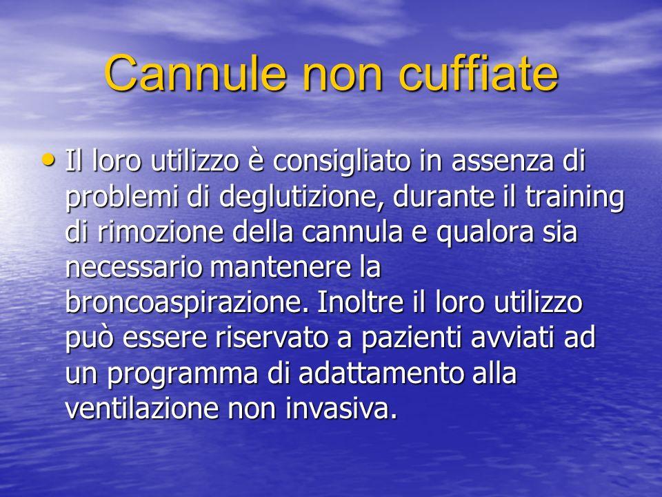 Cannule non cuffiate Il loro utilizzo è consigliato in assenza di problemi di deglutizione, durante il training di rimozione della cannula e qualora sia necessario mantenere la broncoaspirazione.