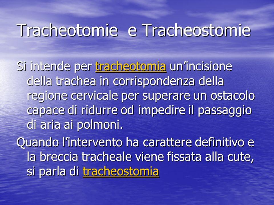 Tracheotomie e Tracheostomie Si intende per tracheotomia unincisione della trachea in corrispondenza della regione cervicale per superare un ostacolo capace di ridurre od impedire il passaggio di aria ai polmoni.