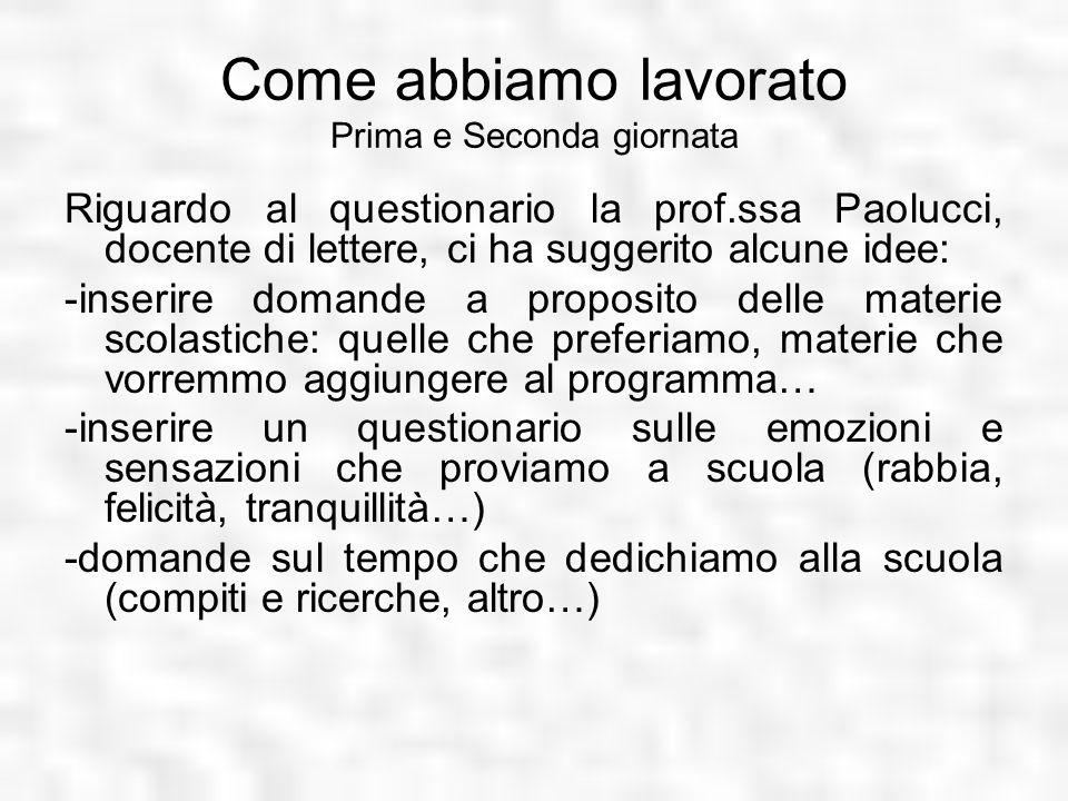 Come abbiamo lavorato Prima e Seconda giornata Riguardo al questionario la prof.ssa Paolucci, docente di lettere, ci ha suggerito alcune idee: -inseri