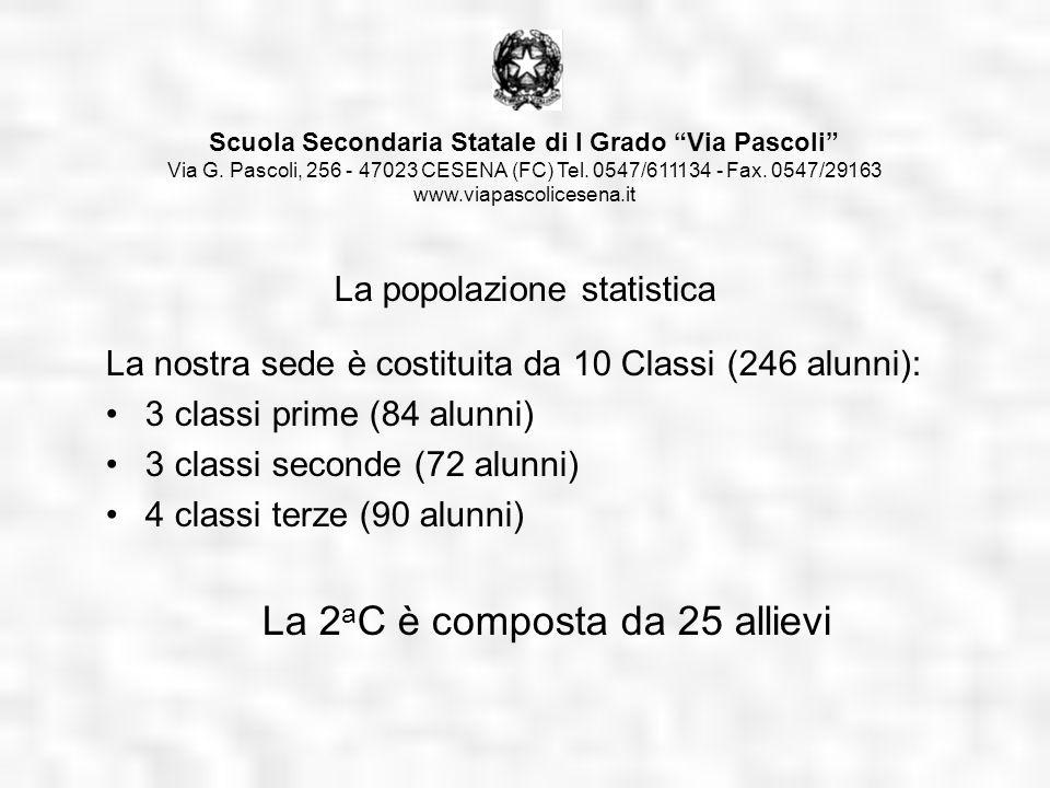 La nostra sede è costituita da 10 Classi (246 alunni): 3 classi prime (84 alunni) 3 classi seconde (72 alunni) 4 classi terze (90 alunni) La 2 a C è c