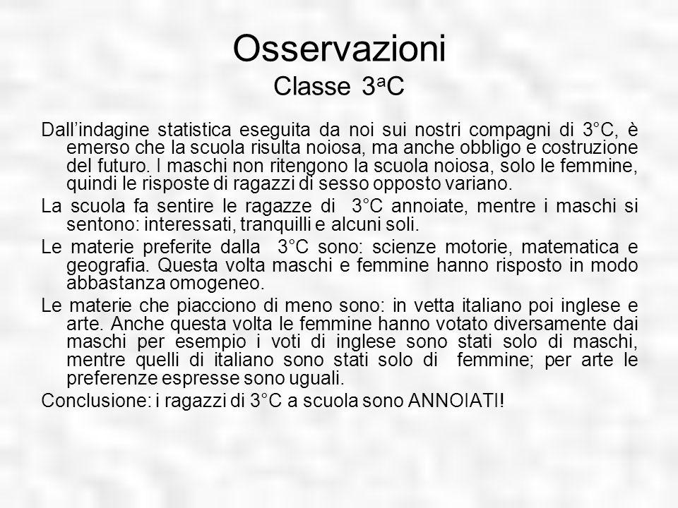 Osservazioni Classe 3 a C Dallindagine statistica eseguita da noi sui nostri compagni di 3°C, è emerso che la scuola risulta noiosa, ma anche obbligo