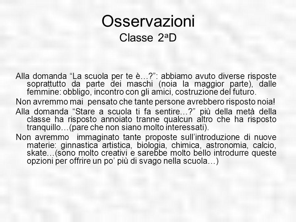 Osservazioni Classe 2 a D Alla domanda La scuola per te è…?: abbiamo avuto diverse risposte soprattutto da parte dei maschi (noia la maggior parte), d