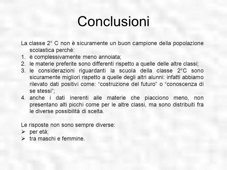 Conclusioni La classe 2° C non è sicuramente un buon campione della popolazione scolastica perché: 1.è complessivamente meno annoiata; 2.le materie pr