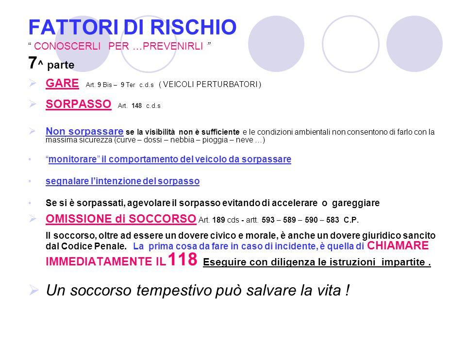 FATTORI DI RISCHIO CONOSCERLI PER …PREVENIRLI 7 ^ parte GARE Art.