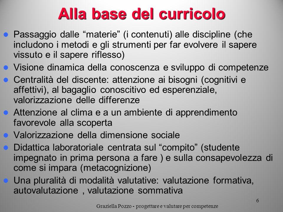 Alla base del curricolo Passaggio dalle materie (i contenuti) alle discipline (che includono i metodi e gli strumenti per far evolvere il sapere vissu