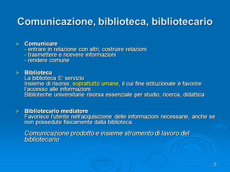 2 Comunicazione, biblioteca, bibliotecario Comunicare Comunicare - entrare in relazione con altri, costruire relazioni - trasmettere e ricevere inform