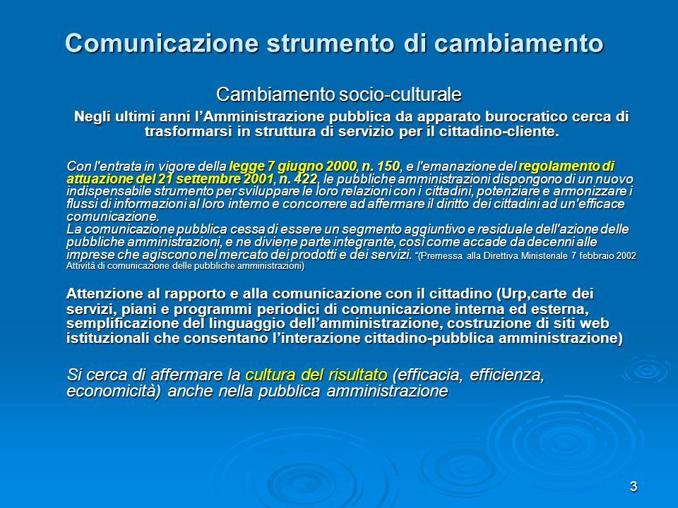 3 Comunicazione strumento di cambiamento Cambiamento socio-culturale Negli ultimi anni lAmministrazione pubblica da apparato burocratico cerca di tras