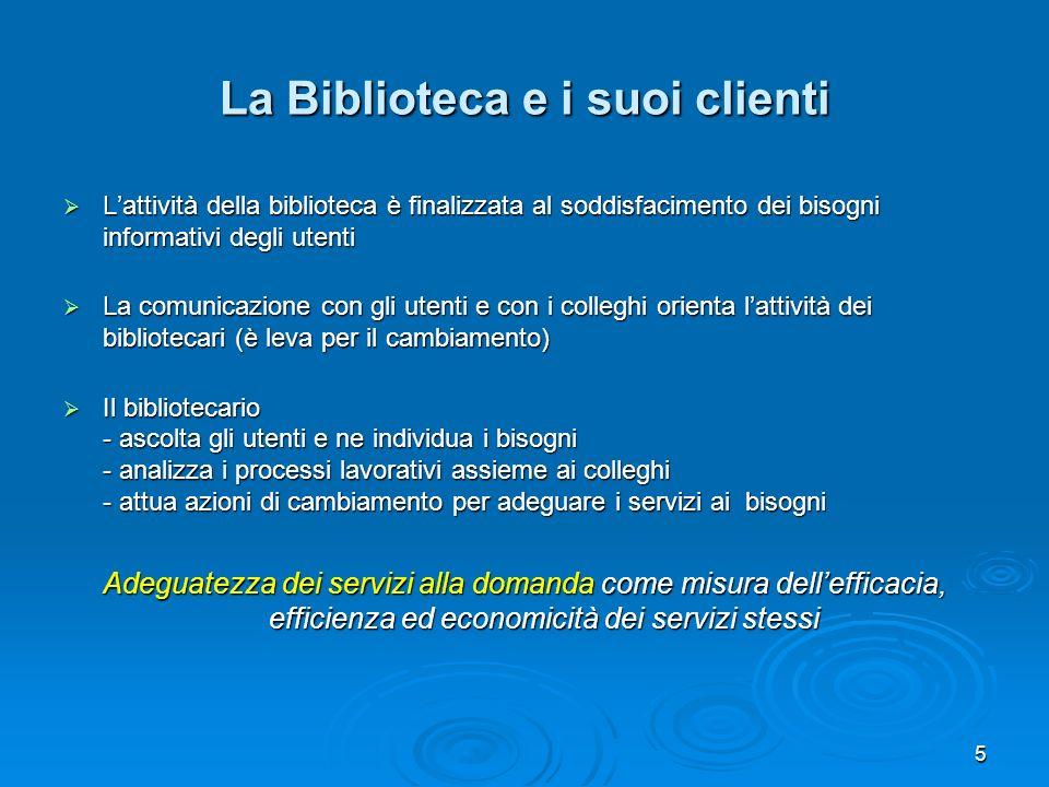 5 La Biblioteca e i suoi clienti Lattività della biblioteca è finalizzata al soddisfacimento dei bisogni informativi degli utenti Lattività della bibl
