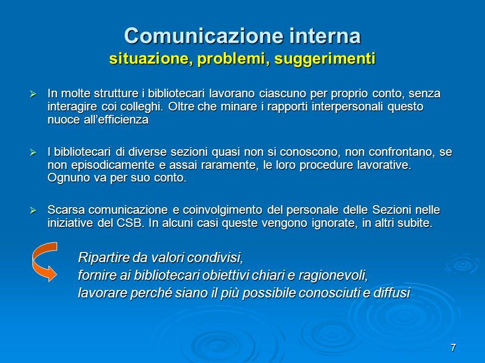 7 Comunicazione interna situazione, problemi, suggerimenti In molte strutture i bibliotecari lavorano ciascuno per proprio conto, senza interagire coi