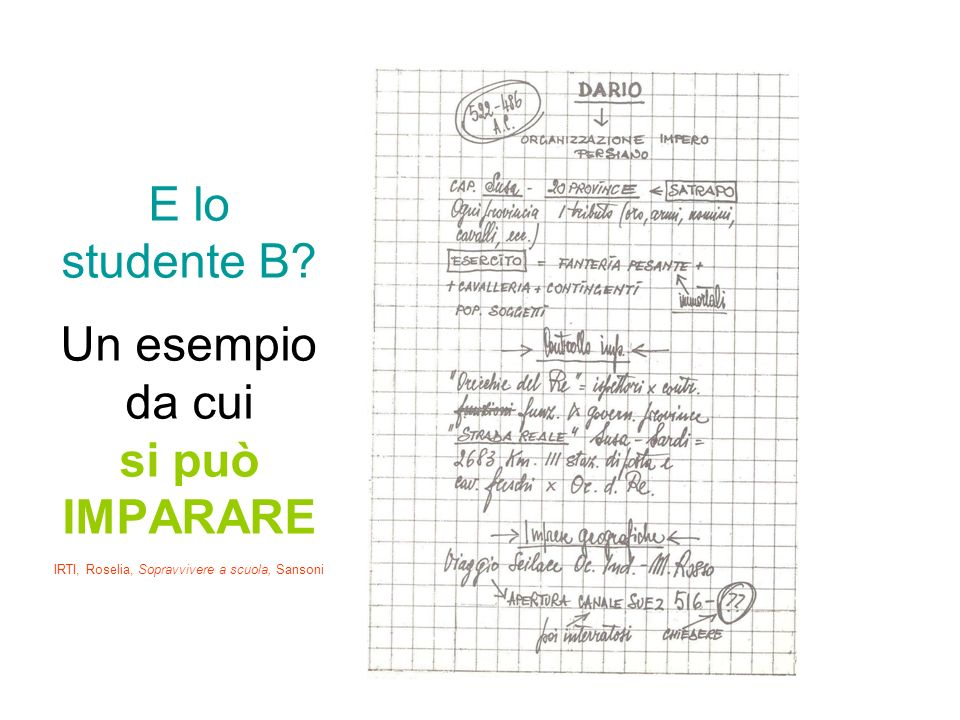 E lo studente B? Un esempio da cui si può IMPARARE IRTI, Roselia, Sopravvivere a scuola, Sansoni