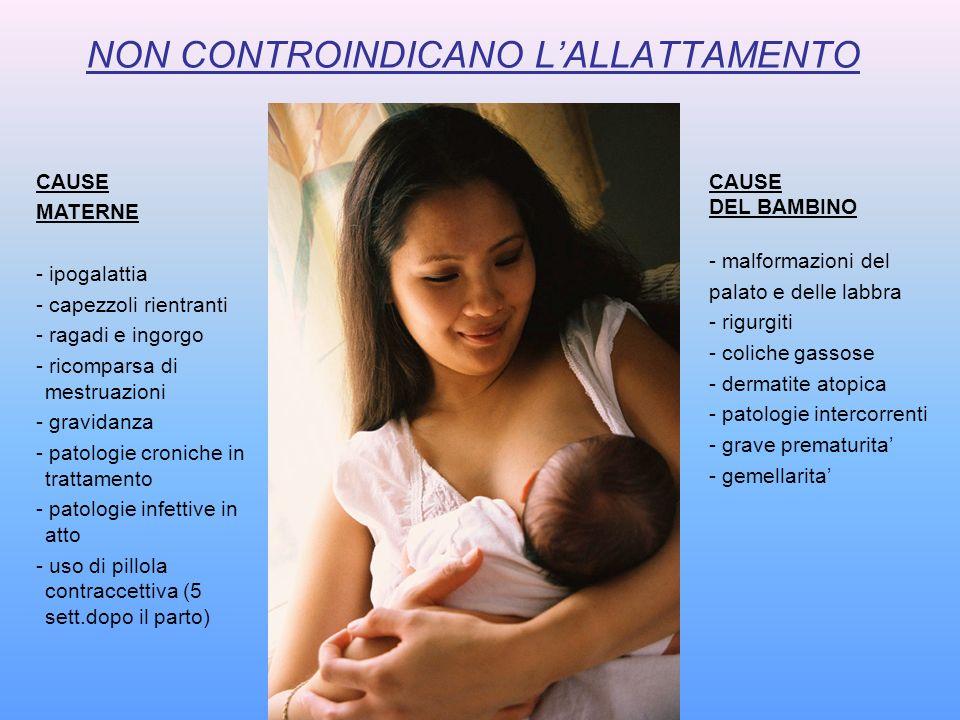 NON CONTROINDICANO LALLATTAMENTO CAUSE MATERNE - ipogalattia - capezzoli rientranti - ragadi e ingorgo - ricomparsa di mestruazioni - gravidanza - pat