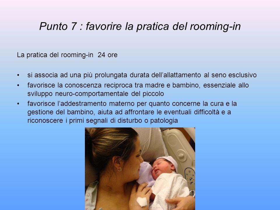 Punto 7 : favorire la pratica del rooming-in La pratica del rooming-in 24 ore si associa ad una più prolungata durata dellallattamento al seno esclusi