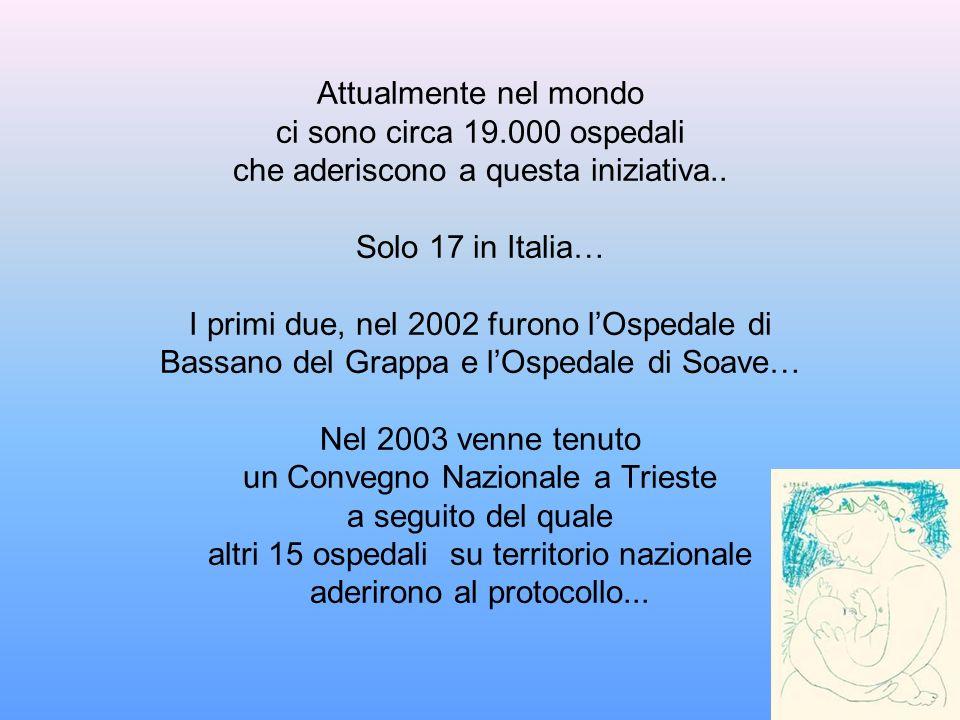 Attualmente nel mondo ci sono circa 19.000 ospedali che aderiscono a questa iniziativa.. Solo 17 in Italia… I primi due, nel 2002 furono lOspedale di