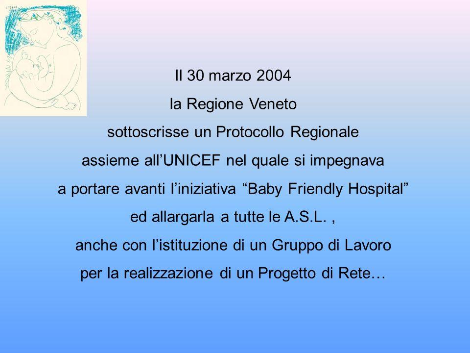 Il 30 marzo 2004 la Regione Veneto sottoscrisse un Protocollo Regionale assieme allUNICEF nel quale si impegnava a portare avanti liniziativa Baby Fri