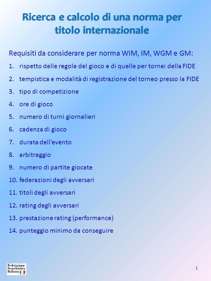 1 Ricerca e calcolo di una norma per titolo internazionale Requisiti da considerare per norma WIM, IM, WGM e GM: 1.rispetto delle regole del gioco e d