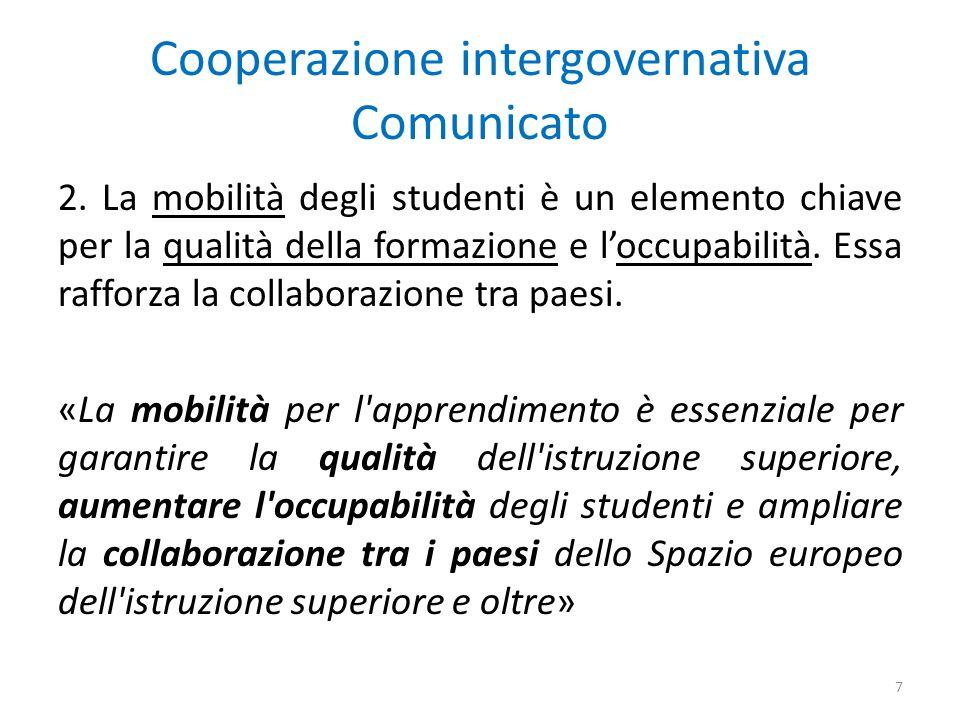 Cooperazione intergovernativa Comunicato 2.