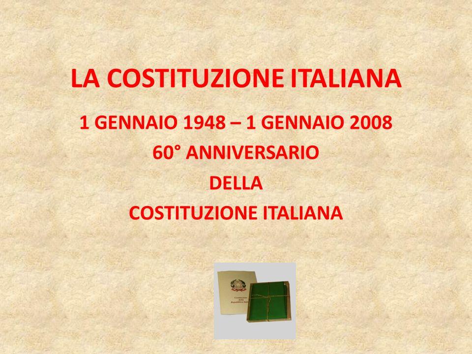 COSTITUZIONE ITALIANA: UN FRANCOBOLLO PER I SUOI 60 ANNI Il 2 gennaio vedrà la luce il francobollo da 0,60 dedicato al 60° Anniversario della promulgazione della Costituzione della Repubblica Italiana.