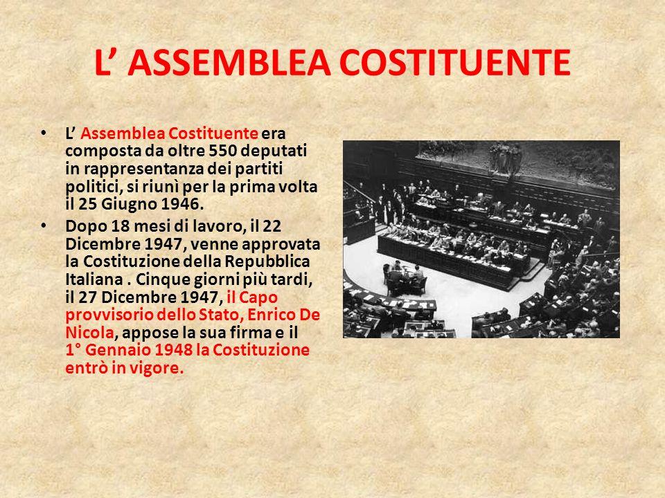 L ASSEMBLEA COSTITUENTE L Assemblea Costituente era composta da oltre 550 deputati in rappresentanza dei partiti politici, si riunì per la prima volta il 25 Giugno 1946.