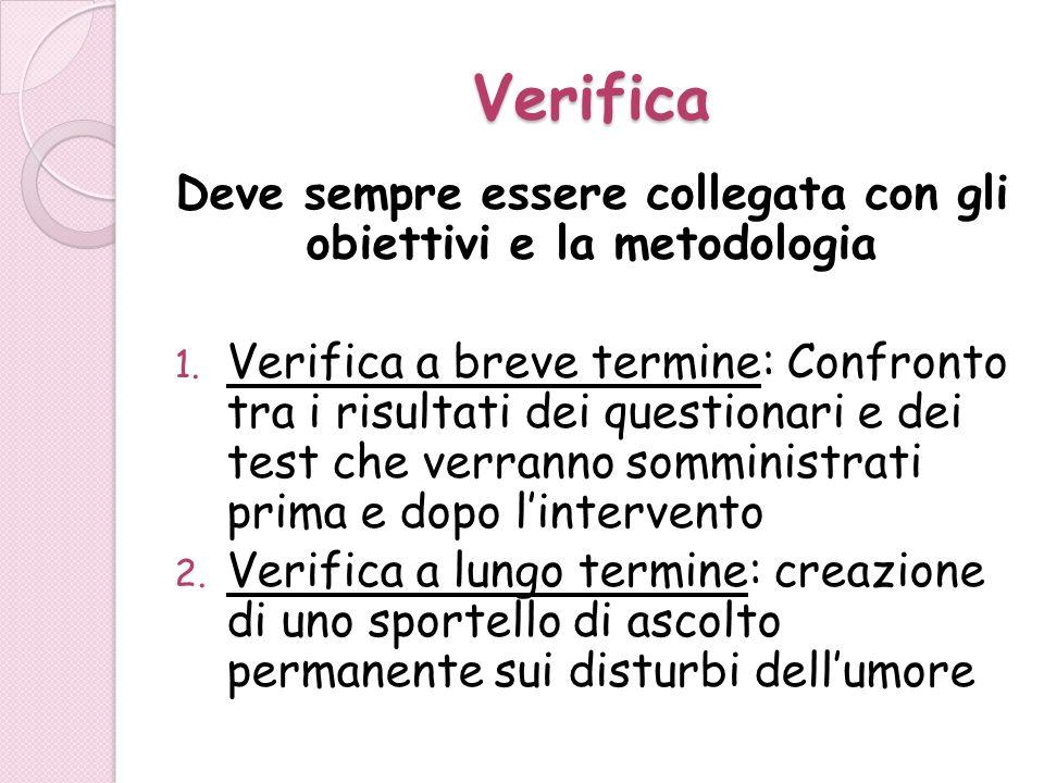 Verifica Deve sempre essere collegata con gli obiettivi e la metodologia 1. Verifica a breve termine: Confronto tra i risultati dei questionari e dei