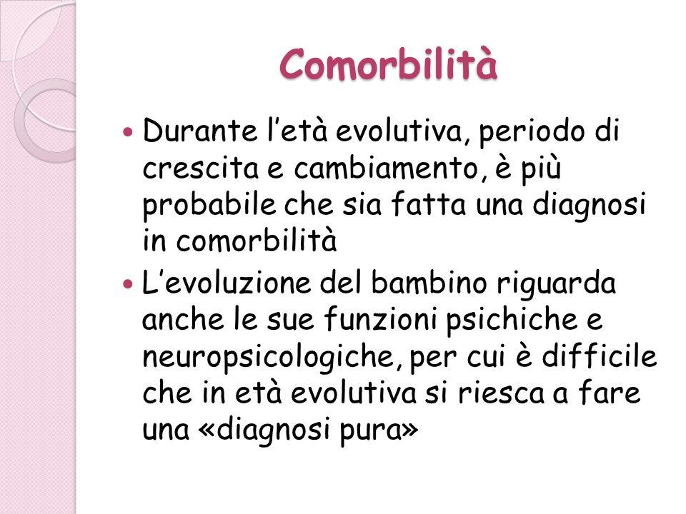 Comorbilità Durante letà evolutiva, periodo di crescita e cambiamento, è più probabile che sia fatta una diagnosi in comorbilità Levoluzione del bambi