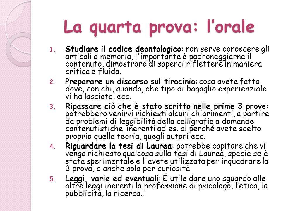La quarta prova: lorale 1. Studiare il codice deontologico: non serve conoscere gli articoli a memoria, l'importante è padroneggiarne il contenuto, di