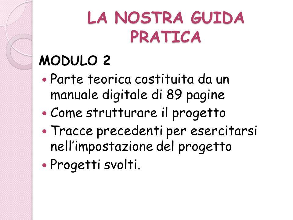 LA NOSTRA GUIDA PRATICA MODULO 2 Parte teorica costituita da un manuale digitale di 89 pagine Come strutturare il progetto Tracce precedenti per eserc