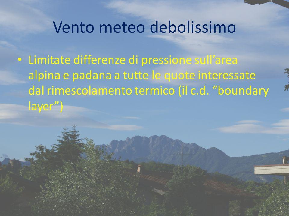Vento meteo debolissimo Limitate differenze di pressione sullarea alpina e padana a tutte le quote interessate dal rimescolamento termico (il c.d.
