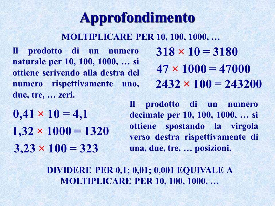 Approfondimento MOLTIPLICARE PER 10, 100, 1000, … Il prodotto di un numero naturale per 10, 100, 1000, … si ottiene scrivendo alla destra del numero rispettivamente uno, due, tre, … zeri.